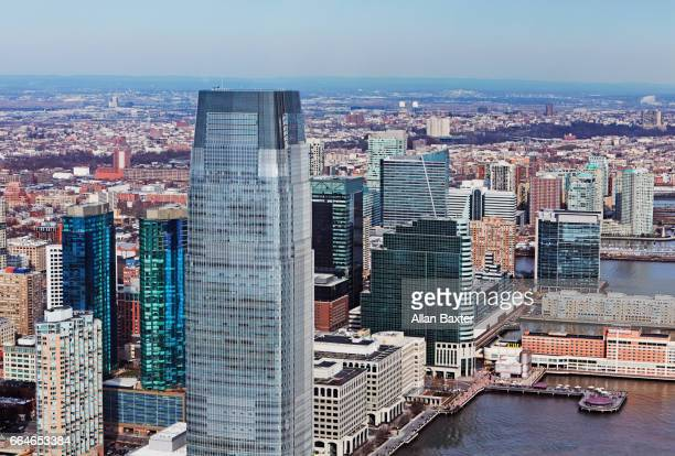 aerial view of paulus hook in jersey city with goldman sachs tower - jersey city stock pictures, royalty-free photos & images