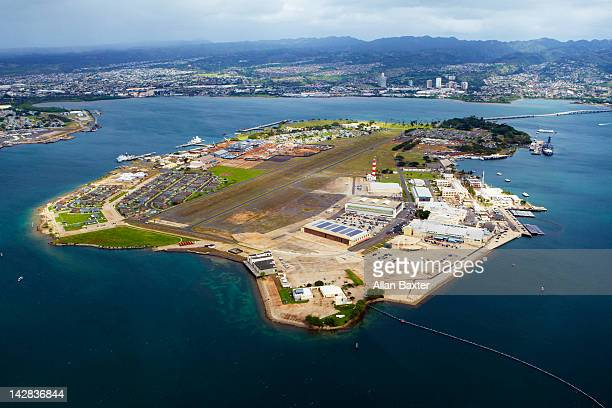 aerial view of pearl harbor - naval base stock pictures, royalty-free photos & images