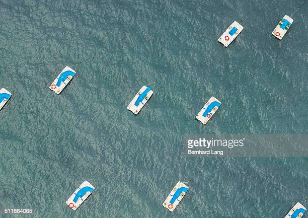 Aerial View of pedal boats in the sea