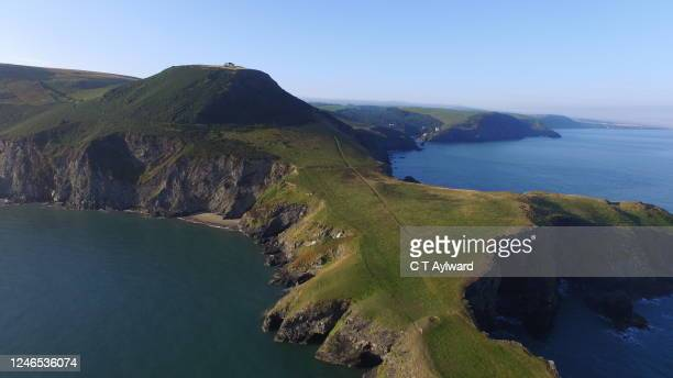 aerial view of pembrokeshire coastline - hill stock pictures, royalty-free photos & images