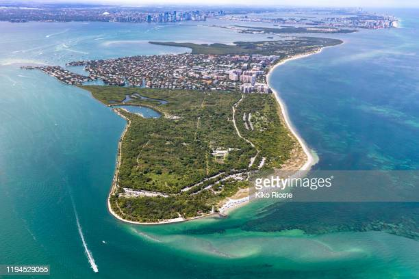 aerial view of peninsula in key biscayne, florida, usa - キービスケイン ストックフォトと画像
