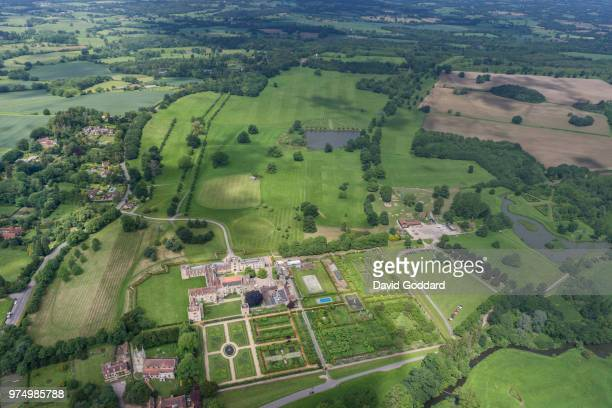 PENSHURST ENGLAND Aerial view of Penshurst Palace in Kent This medieval house built in 1341 is located on northern bank of the River Medway 5 miles...