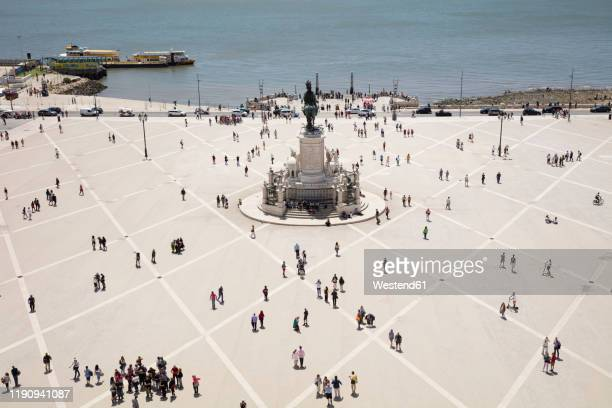 aerial view of people at praca do comrcio against sky, lisbon, portugal - バイシャ ストックフォトと画像