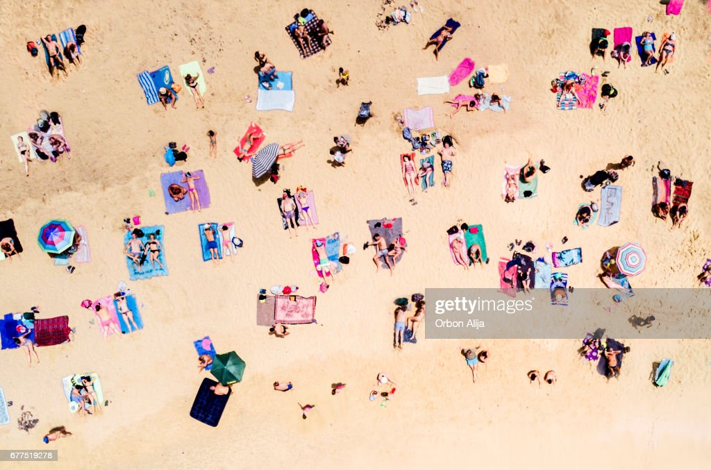 Aerial view of people at the beach : Foto de stock