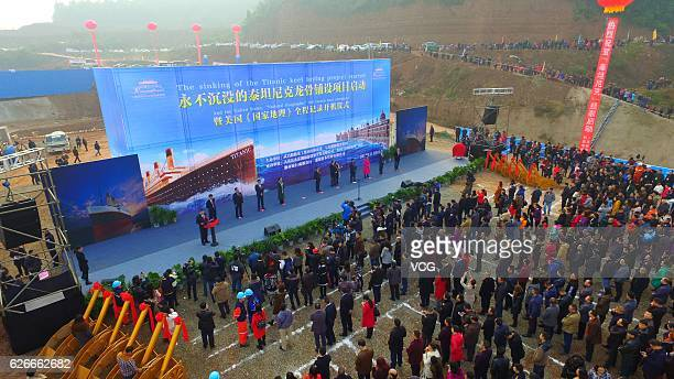 Aerial view of people attending a ceremony to start The Sinking of Titanic Keel Laying Project on November 30 2016 in Suining Sichuan Province of...