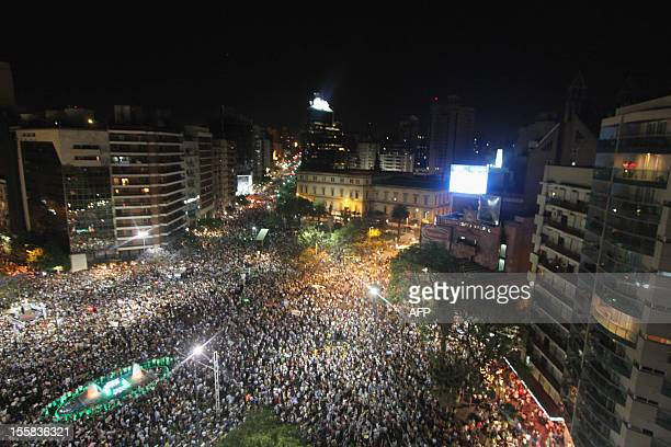 Aerial view of people gathering during a 'cacerolazo' against Argentine President Cristina Fernandez de Kirchner's government in Cordoba Argentina on...