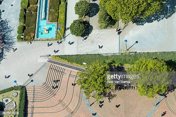 Aerial view of people in park