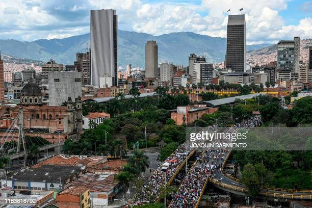 Aerial view of people marching during a nationwide strike called by students unions and indigenous groups to protest against the government of...