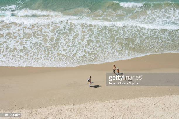 aerial view of people on beach - noam cohen stock pictures, royalty-free photos & images