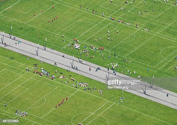 Aerial view of people on pitches