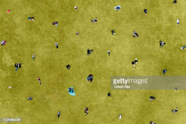 aerial view of people social distancing at the park - track and field stadium stock pictures, royalty-free photos & images