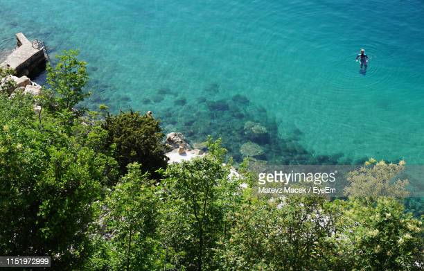 aerial view of person in sea - adriatic sea stock pictures, royalty-free photos & images