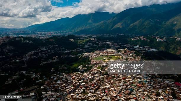 Aerial view of Petare slum in Caracas, Venezuela, on September 29, 2019.