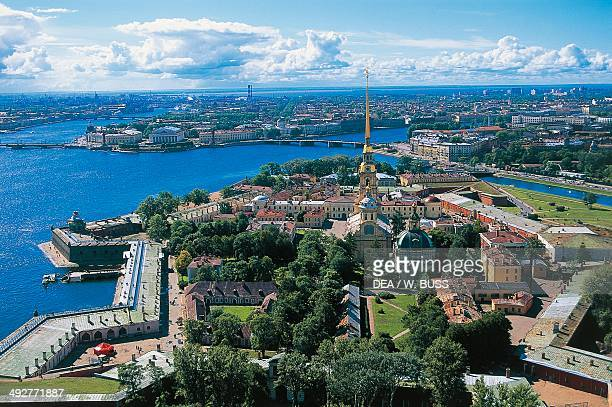 Aerial view of Peter and Paul fortress on the Neva River 18th century architect Domenico Trezzini St Petersburg Russia