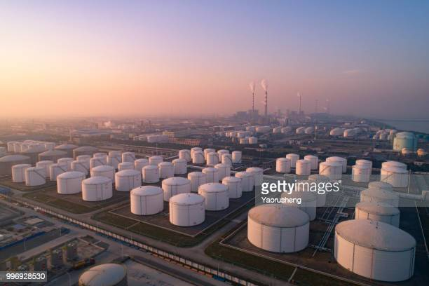 aerial view of petrol industrial zone,oil strage tank - storage compartment stock pictures, royalty-free photos & images