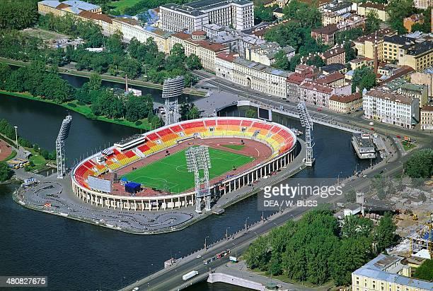 Aerial view of Petrovsky Stadium in Saint Petersburg Russia