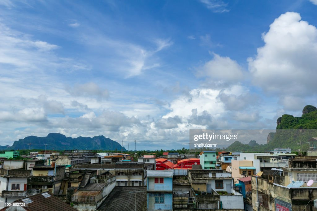 Aerial view of Phatthalung, one of the southern provinces of Thailand. : Stock Photo
