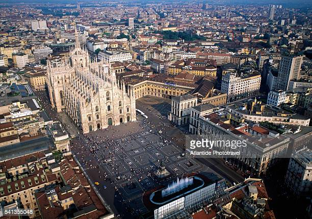 aerial view of piazza del duomo, milan - milan stock pictures, royalty-free photos & images