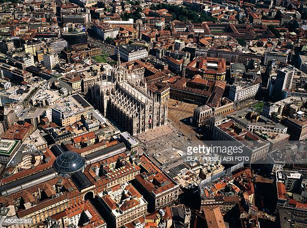 Aerial view of Piazza Duomo Milan Lombardy Region Italy