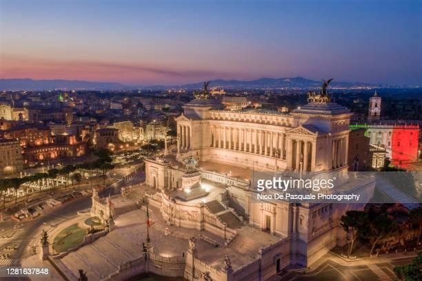 aerial view of piazza venezia and altare della patria, rome - altare della patria stock pictures, royalty-free photos & images
