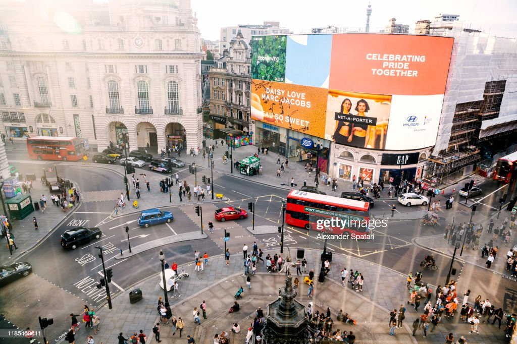 Aerial view of Piccadilly Circus in London, England, UK : Stock Photo