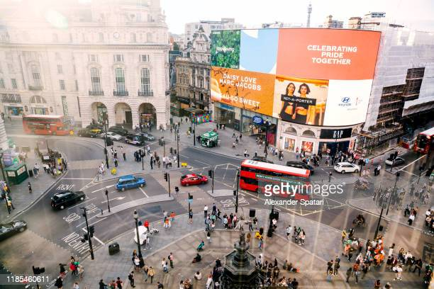aerial view of piccadilly circus in london, england, uk - central london stock pictures, royalty-free photos & images