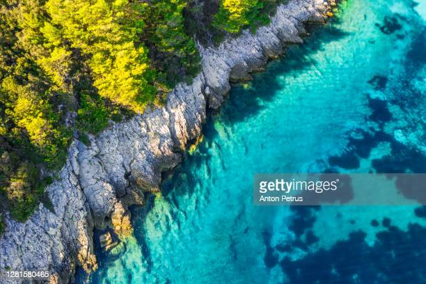 aerial view of picturesque bay at hvar island, croatia - croatia stock pictures, royalty-free photos & images