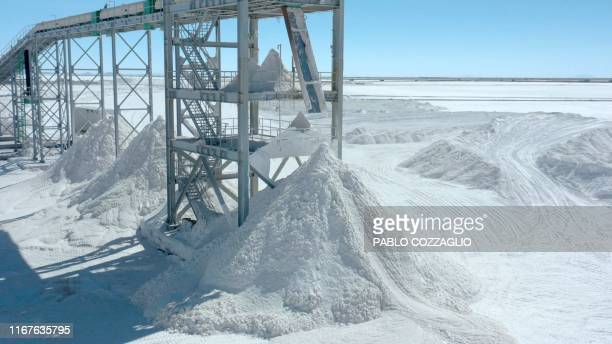 Aerial view of piles of salt, a byproduct from lithium extraction, at the new state-owned lithium extraction complex, in the southern zone of the...