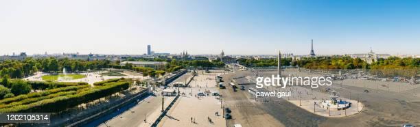 aerial view of place de la concorde paris france - place de la concorde stock pictures, royalty-free photos & images