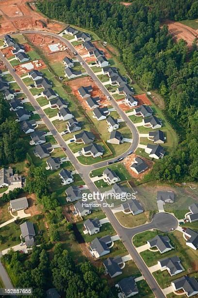 aerial view of planned communities in the suburbs of greenville sc - greenville south carolina stock photos and pictures