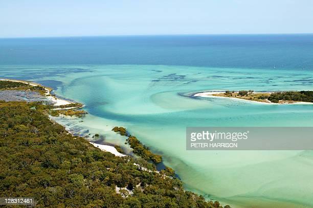 Aerial view of Platypus Bay, Fraser Island, Queensland, Australia