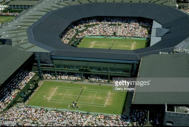 Aerial view of play on Centre and No 1 courts during the All England Lawn Tennis Championships at Wimbledon in London Mandatory Credit Allsport UK...