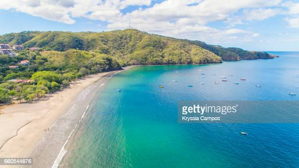 aerial view of playa hermosa, guanacaste, costa rica - guanacaste stock pictures, royalty-free photos & images