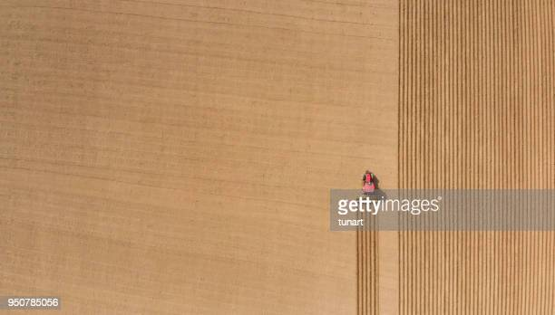 aerial view of plowing fields - campo foto e immagini stock