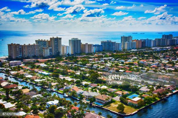 aerial view of pompano beach florida - fort lauderdale stock pictures, royalty-free photos & images