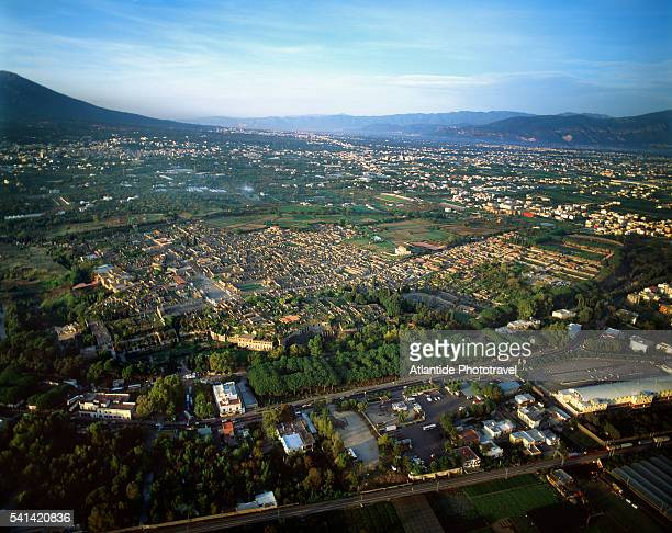 aerial view of pompeii ruins - pompeii stock photos and pictures