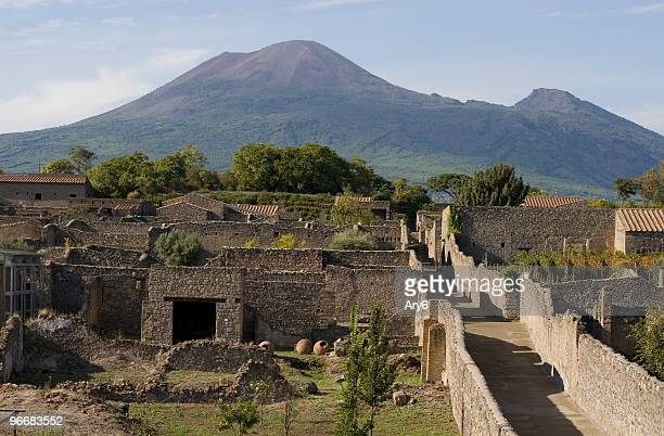 Aerial view of Pompeii with Mount Vesuvius in the background