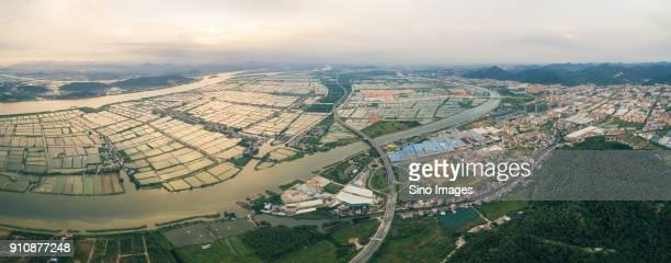aerial view of ponds inzhongshan, guangdong, china - zhongshan stock-fotos und bilder