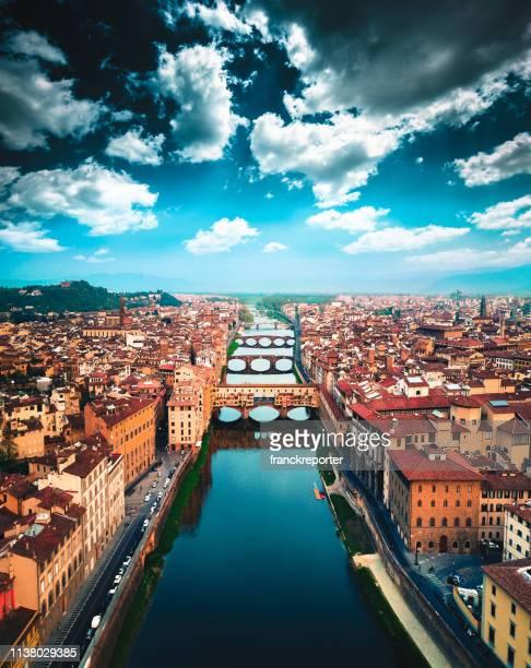 aerial view of ponte vecchio in florence - firenze foto e immagini stock