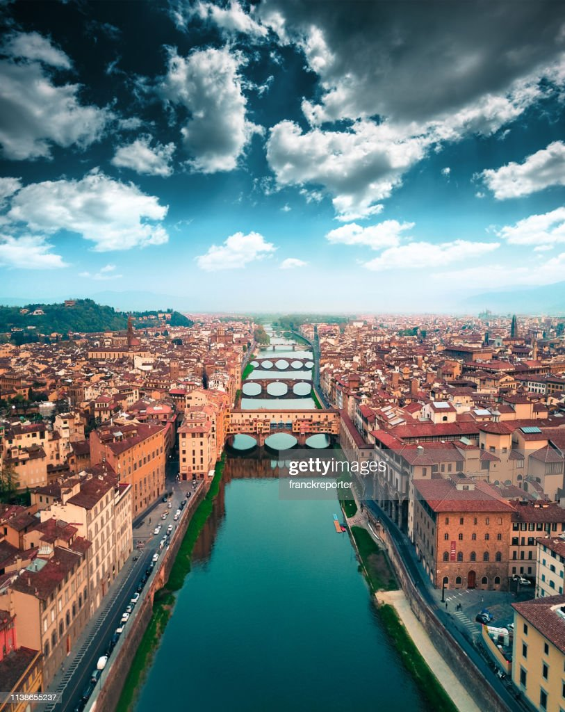 aerial view of ponte vecchio in Florence : Stock Photo
