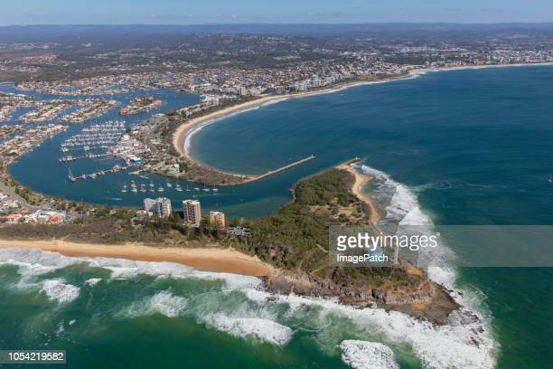 aerial view of port cartwright on the sunshine coast - sunshine coast australia stock pictures, royalty-free photos & images