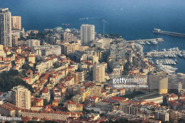 aerial view of port hercule and monte-carlo in monaco - monte carlo stock pictures, royalty-free photos & images