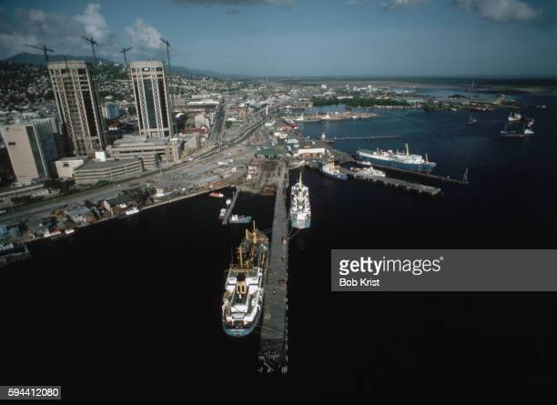 aerial view of port of spain near twin towers - port of spain stock pictures, royalty-free photos & images