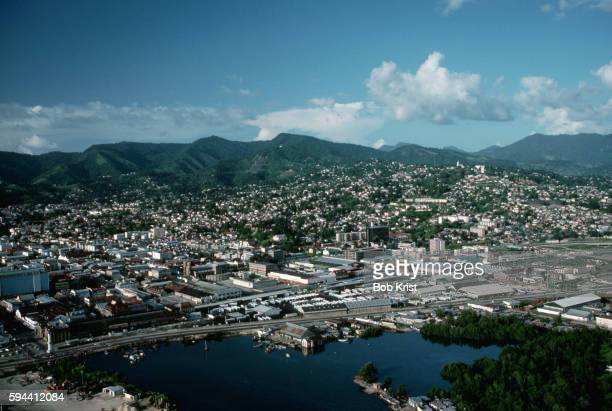 aerial view of port of spain - trinidad and tobago stock pictures, royalty-free photos & images