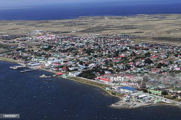 Aerial view of Port Stanley on January 26, 2012 in Port Stanley, Falklands Islands.