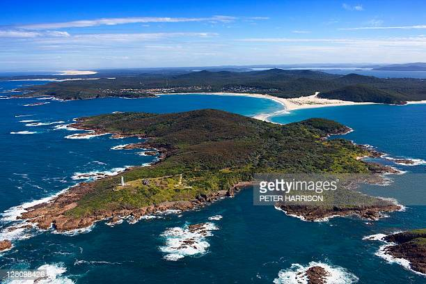 Aerial view of Port Stephens Lighthouse, Port Stephens, NSW, Australia
