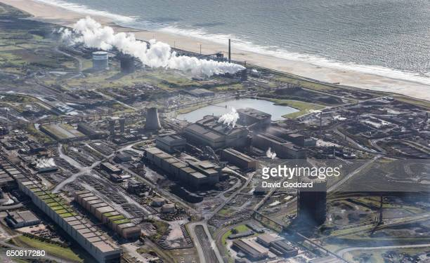 KINGDOM SEPTEMBER 12 Aerial view of Port Talbot Steelworks on September 12 2015 Located between the M4 motorway and the Bristol Channel the Port...