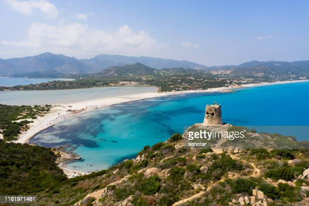aerial view of porto giunco - sardinia stock pictures, royalty-free photos & images