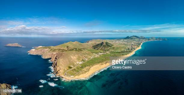 "aerial view of ""porto santo"", madeira island, portugal. - lareira stock pictures, royalty-free photos & images"
