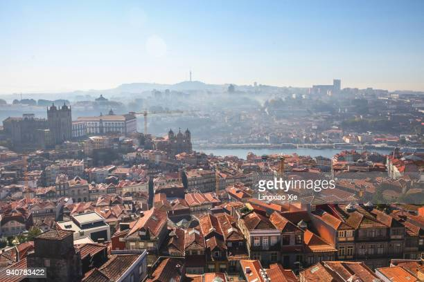 Aerial view of Porto urban skyline and Douro River from top of Clérigos Church, Portugal